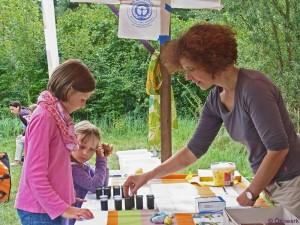 Regina Höfele informiert über Pflanzenfarben